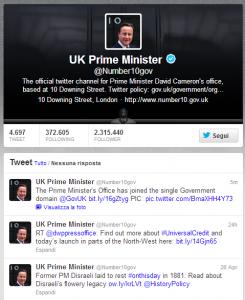 L'account su Twitter del governo britannico