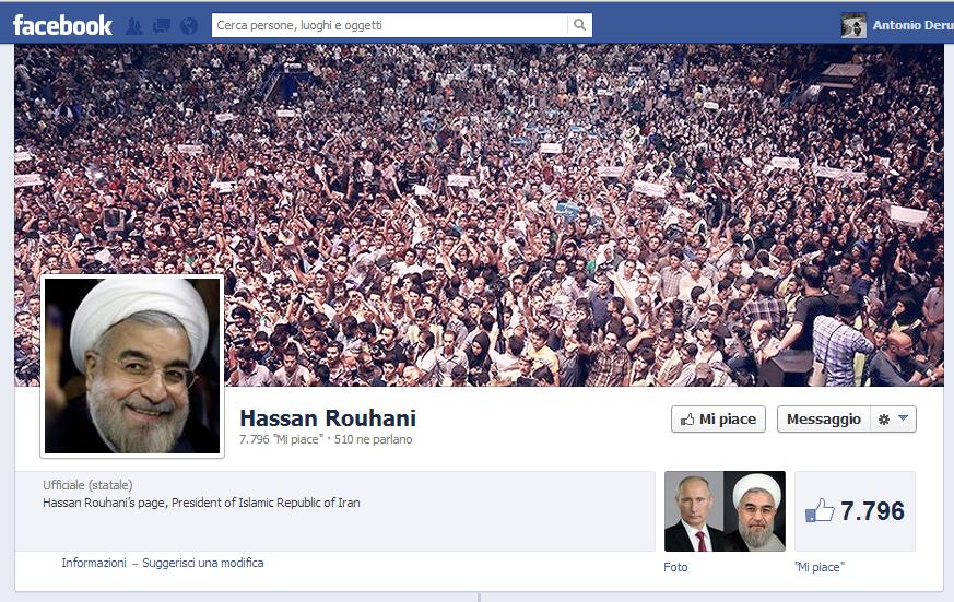 La pagina Facebook del Presidente Rouhani