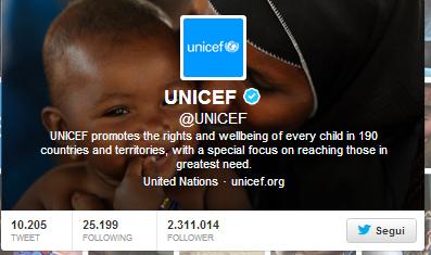 L'account Twitter dell'Unicef, il più seguito a livello globale