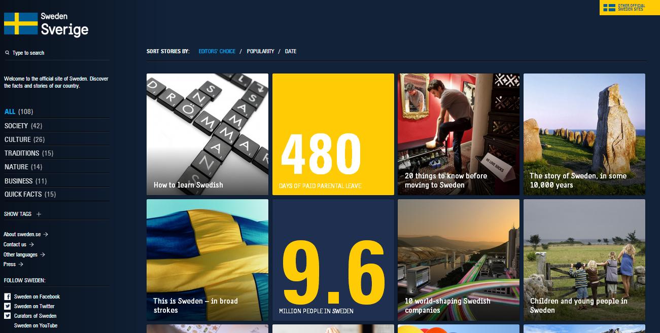 Il sito web ufficiale della Svezia